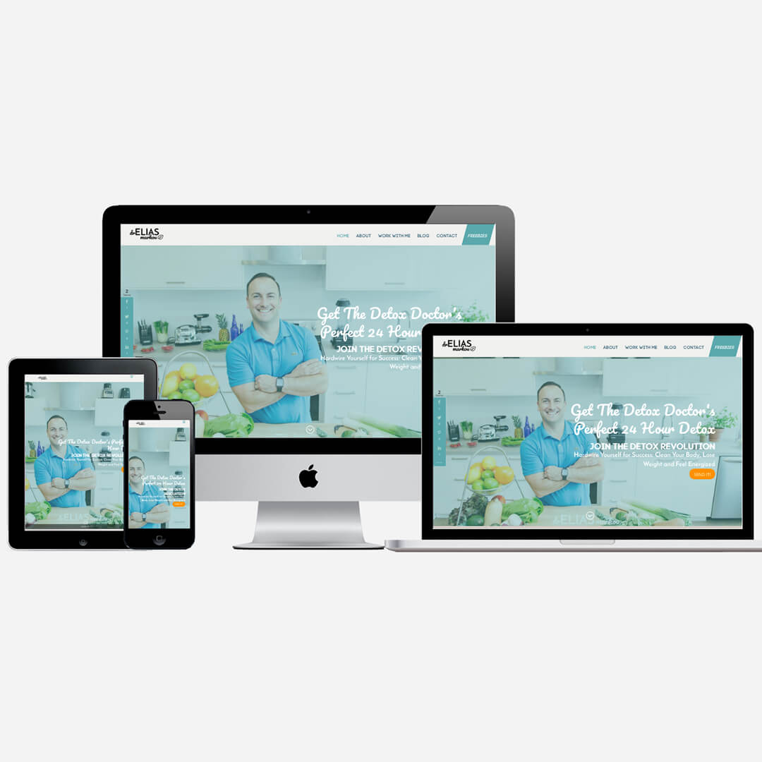 Responsive Displays of dreliasmarkou.com website - Dr. Elias Markou, ND - Detox Doctor | Branding Identity, Website Design & Development by My Soul Essentials